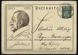 S1840 DR Goethe GS Postkarte , Gebraucht Regis Breitingen Leipzig 1932 , Bedarfserhaltung. - Deutschland