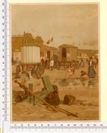 CHROMO LITHO..GRAND FORMAT...H 18  Cm  VILLE CÔTIÈRE DE FRANCE 1900...LA PLAGE DE BOULOGNE - Vieux Papiers