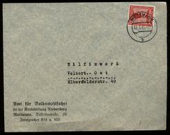 3.Reich - DR NSDAP Dienstpost Briefumschlag, Volkswohlfahrt: Gebraucht Düsseldorf Mettmann - Velbert 1940, Bedarfserha - Allemagne