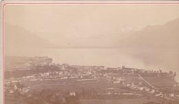 SUISSE / VEVEY ET LA DENT DU MIDI  /   GARCIN PHOTO  / COLLEE SUR CARTON - FIN XIXe DEBUT XXe Siècle / 16 X 10 CM - Anciennes (Av. 1900)