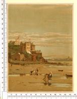 CHROMO LITHO..GRAND FORMAT...H 18  Cm  VILLE CÔTIÈRE DE FRANCE 1900...LA PLAGE DE DINARD - Vieux Papiers