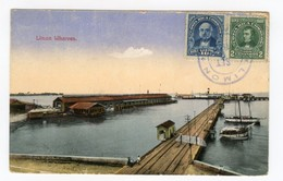 Limon Wharves Costa Rica Postcard Port Sent With Stamps 1922 - Costa Rica