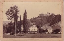 38 / URIAGE LES BAINS / PARC ET HOTEL / PHOTO COLLEE SUR CARTON - FIN XIXe DEBUT XXe Siècle / 16 X 10 CM - Anciennes (Av. 1900)