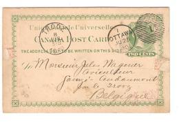 PR6148/ Canada Entier CP 2 C.c.Ottawa 1890 V.Belgique Gomzé-Audoumont Par Trooz C.d'arrivée - 1860-1899 Reign Of Victoria
