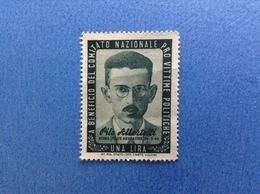1944 MARCA 1 LIRA PRO VITTIME POLITICHE ALBERTELLI NUOVA SENZA GOMMA - Fiscali