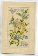 """CARTE BRODEE 050  Fleurs Et Fer à Cheval Porte Bonheur    """" Bonne Fete """"  écrite - Brodées"""