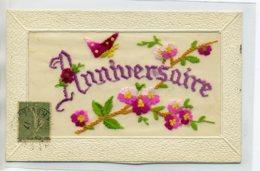 CARTE BRODEE 052 Papillon Fleurs Anniversaire  écrite 1917 Timb - Brodées