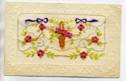 CARTE BRODEE 092 Ouverture Pochette Corbeille Fleurs écrite 1923 - Brodées