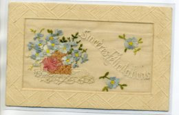 "CARTE BRODEE 093 "" Sinceres Félicitations"" Belle Broderie  écrite 1919 Timb - Brodées"