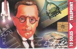 TARJETA DE PERU DE 10 SOLES  CIENTIFICO PEDRO PAULET 10 SOLES (COHETE-SATELITE) - Peru