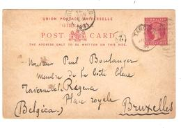 PR6149/ Gibraltar Entire PC 10 C C.Tangier 1891 To Brussels Belgium Arrival Cancellation - Gibraltar