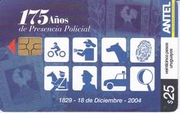 Nº 371 TARJETA DE URUGUAY DE 175 AÑOS PRESENCIA POLICIAL - Uruguay