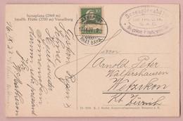 CH Bahnpost Rhät. Bahn 17.09.1923 Mit  10Rp Tellbrust Auf AK Scesaplana Vorarlberg - Suisse