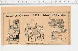 2 Scans 1953 Humour Joueurs Jeu De Cartes Ancien Coeur Traversée De La Manche à La Nage Métier Notaire 223XM - Vieux Papiers