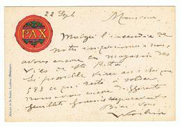 Mooie Briefkaart PAX  Verstuurd Naar Liège Via Namur 22/09/1910 - Werbung