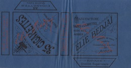 1893 Rare Papier étiquette De Paquet De Cigarettes Cigarette ELIE BEDJAI ALGER - Cigarettes - Accessoires