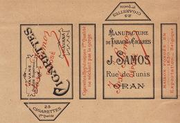 1897 Rare Papier étiquette De Paquet De Cigarettes Cigarette SAMOS ORAN - Cigarettes - Accessoires