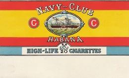 1897 Rare Papier étiquette De Paquet De Cigarettes Cigarette NAVY CLUB - Altri