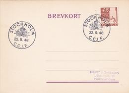 Comité Consultatif Internationale De Téléphonique CCIF SWEDEN 1948 Commemorative Postmark - Telephony ITU - Organizations