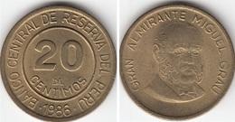 Perù 20 Centimos 1986 KM#294 - Used - Perú