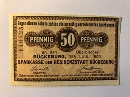 Allemagne Notgeld Buckeburg 50 Pfennig - [ 3] 1918-1933 : République De Weimar