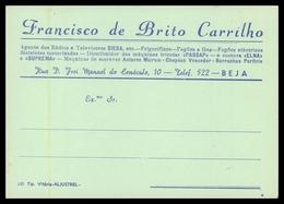 BEJA - PUBLICIDADE - « Franciso De Brito Carrilho» ( Ed. Tip. Vitória - Aljustrel) Carte Postale - Beja