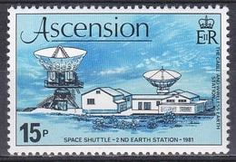 Ascension 1981 Weltall Weltraum Raumfahrt Space Shuttle Erdfunkstelle Parabolantennen Funk, Mi. 275 ** - Ascension