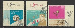 ECUADOR 1967 COOPERAZIONE SPAZIALE FRANCO-AMERICANA YVERT. 762+POSTA AEREA 464-465 USATA VF - Ecuador