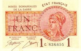 1 FRANC DE LA SARRE NEUF 1920 - [11] Emissions Locales