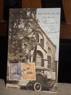 TARJETA POSTAL PARAGUAY CAPILLA ALEMANA CALLE GRAL. DIAZ ASUNCION COCHE 1909 AK CPA - Paraguay