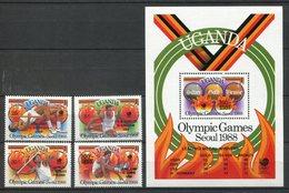 Uganda 1989. Yvert 543-46 + Block 87 ** MNH. - Uganda (1962-...)