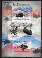BURUNDI Feuillet N° 1437/40    * *  NON DENTELE  Helicopteres - Hélicoptères