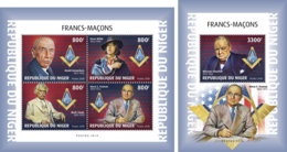 NIGER 2018 MNH Freemasons Freimaurer Francs-macons M/S+S/S - OFFICIAL ISSUE - DH1902 - Franc-Maçonnerie