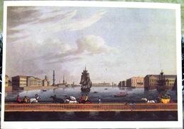 Saint Petersburg, St. Isaac's Pontoon Bridge Across The River. Copy Of Engraving On Copper 1815. USSR Russia Postcard - Russie
