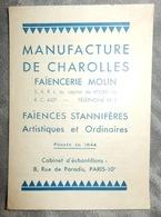 PETIT DÉPLIANT ANCIEN MANUFACTURE DE FAIENCE DE CHAROLLES MOLIN - France
