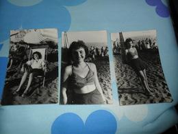 3 Foto Ragazza Al Mare 1949 - Pin-up