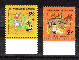 Vietnam  - 1990. Pro Croce Rossa : Infanzia. For Red Cross. Children With Plants And Buffalo. MNH - Croce Rossa