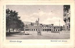 Zürich-Enge - Bahnhof Mit Kirche (animation, Tram Tramway, Verlag Robert Bäcker) - ZH Zurich