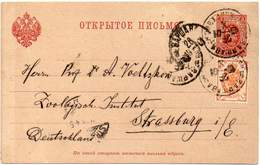 RUSSIA 1901 - Entire Postal Card Of 3 Kopecs With Additional Postage, From Warsaw To Strasburg, Germany - 1857-1916 Imperium