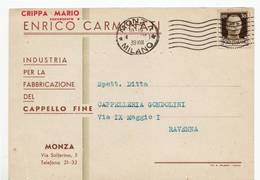 5110 MONZA CARMINATI CAPPELLI X RAVENNA - Marcophilie