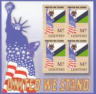 2002 Lesotho  9/11 USA Flag Statue Of Liberty Miniature Sheet Of 4 MNH - Lesotho (1966-...)