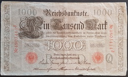 EBN1 - Germany 1910 Banknote 1000 Mark Pick 44b - Red Seal & Serial 7 Digits - [ 2] 1871-1918 : Duitse Rijk