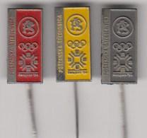 3 Pins Sponsor Pin Badge Postanska Stedionica Winter Olympic Games Sarajevo 1984 84 Bosnia Yugoslavia Olympics Olympia - Olympic Games