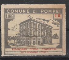 Pompei. Marca Municipale Rimborso Spesa Stampati L. 10 - Otros