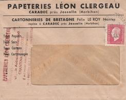 LSC -  Entête PAPETERIE LEON CLERGEAU à CARADEC Près JOSSELIN (Morbihan) & YT 691 Seul Sur Lettre - 1921-1960: Modern Period