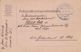 Feldpostkarte - Wien Nach Kuk Etappen-Train-Gruppenkommando 3/19 Feldpost 143 - 1915 (38575) - 1850-1918 Imperium