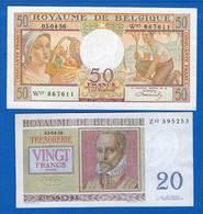 Belgique  2  Billets   Sup - [ 2] 1831-... : Royaume De Belgique