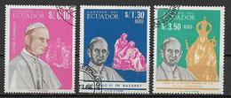 ECUADOR 1967  PAOLO VI YVERT. 759+POSTA AEREA 460-461 USATA VF - Ecuador