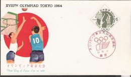 Japan 1962  Olympic Summer Games Tokyo 1964 Basketball Mi 809, FDC - Storia Postale