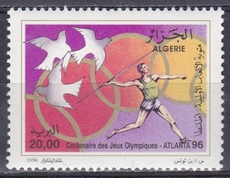 Algerien Algeria 1996, Sport Spiele Olympia Olympics Atlanta Friedenstauben Tauben Doves Speerwerfen, Mi. 1149 ** - Algerien (1962-...)